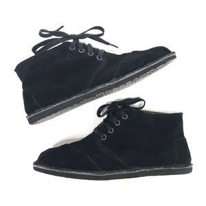 TOMS Black Suede Ankle Booties Boots Lace Up